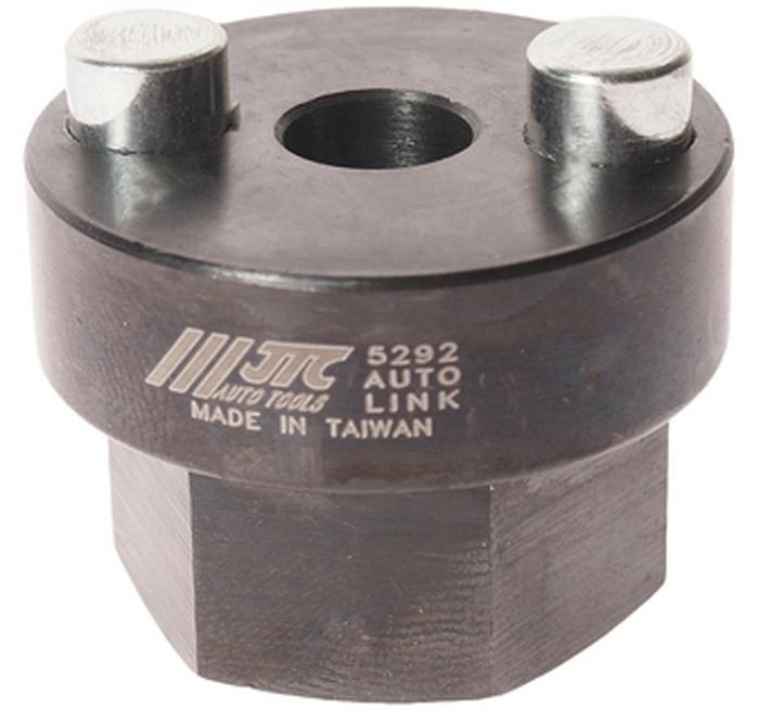 JTC Головка для снятия и установки пальца рессор передней оси (VOLVO FL6, F10, F12). JTC-5292JTC-5292Головка специальной формы с двумя внешними шпильками предназначена для снятия и установки пальца пружинной опоры передних колес. Используется с ключом 27 мм. Общая длина: 31.5 мм. Применение: грузовые автомобили Вольво (VOLVO) FL6, F10, F12