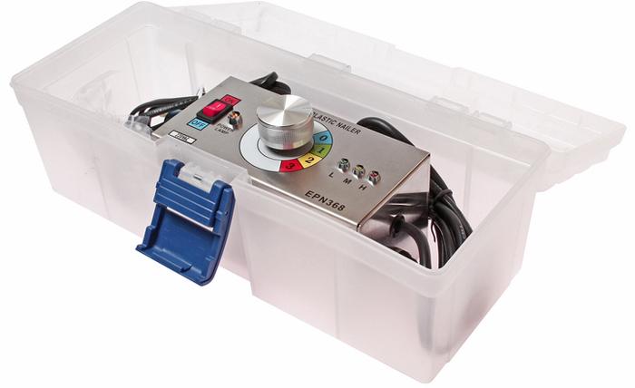 JTC Устройство для сварки пластиковых деталей. JTC-5300JTC-5300Предназначено для сварки всех видов пластика. Может применяться для ремонта бампера, внутренней обшивки кузова, брызговиков и т.п. Применение: Подключить питание, установить температуру, вставить скобу в держатель. Поднести к месту сварки, нажать кнопку пуск, чтобы разогреть скобу и затем погрузить скобу в ремонтируемую деталь. Когда скоба будет погружена на необходимую глубину, отключить нагрев и через 3 секунды аккуратно отсоединить рукоять. Дать возможность остыть пластику, затем обрезать выступающие части скобы. При обрезке необходимо соблюдать аккуратность, чтобы не выломать скобу из ремонтируемой детали.Питание: АС 110/220В, 50/60 Гц. Размеры: 160/110/110 мм. (Д/Ш/В) В комплекте: Скоба 0.6 мм - 100 шт. Скоба 0.8 мм - 100 шт. Скоба угловая 90° - 100 шт.Упаковка: прочный переносной кейс. Габаритные размеры: 350/150/130 мм. (Д/Ш/В) Вес: 1666 гр.