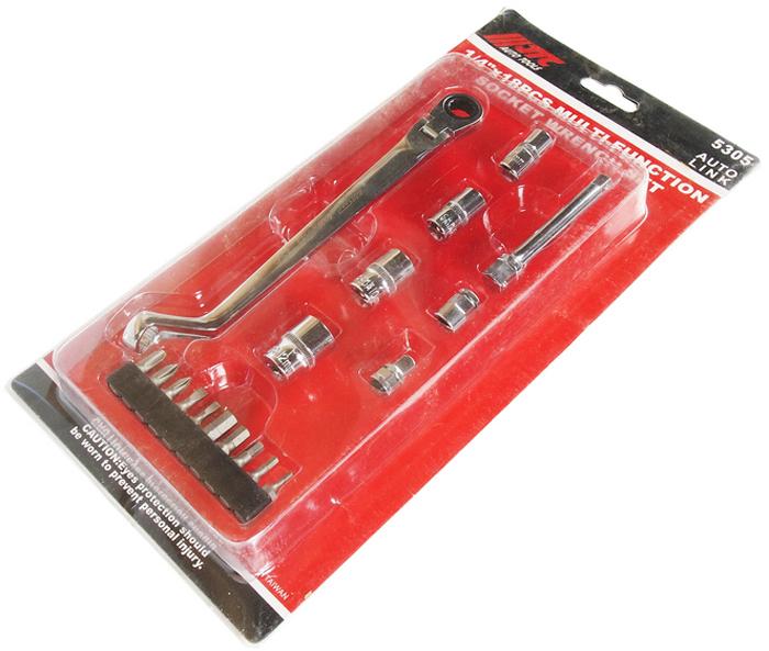 """JTC Набор торцевых головок многофункциональный, 18 шт. JTC-5305JTC-5305В комплекте: Многофункциональный торцевой ключ - 1 шт. Головки под ключ 1/4"""": 7, 8, 10, 12 мм. - 4 шт. Удлинитель на 3/8""""х75 мм. - 1 шт. Адаптер 1/4"""" - 1 шт. Адаптер для бит 1/4"""" - 1 шт. Биты шестигранные: 2, 3, 4, 5, 6 - 5 шт. Биты шлицевые: 3, 4 - 2 шт. Биты PH: 1, 2, 3 - 3 шт.Общее количество предметов: 18. Упаковка: прочный пластиковый кейс. Габаритные размеры: 315/158/80 мм. (Д/Ш/В)Вес: 3200 гр."""