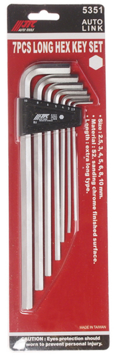 JTC Набор ключей шестигранных Г-образных, экстрадлинных 2,5-10 мм, 7 предметов. JTC-5351