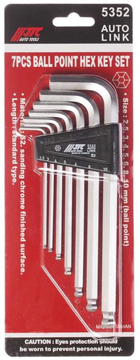 JTC Набор ключей шестигранных с шаром 2,5-10 мм, 7 предметов. JTC-5352JTC-5352Пластиковый держатель предназначен для удобного хранения инструмента.Набор шестигранных удлиненных ключей позволяет оптимизировать рабочий процесс и сэкономить рабочее время.В комплекте: 2.5, 3, 4, 5, 6, 8, 10 мм.Материал: S2.Размер: стандартные.