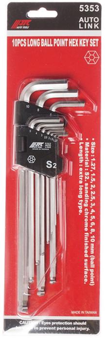 JTC Набор ключей шестигранных Г-образных, с шаром экстрадлинных 1,27-10 мм, 10 предметов. JTC-5353JTC-5353Пластиковый держатель предназначен для удобного хранения инструмента.Набор шестигранных удлиненных ключей позволяет оптимизировать рабочий процесс и сэкономить рабочее время.В комплекте: 1.27, 1.5, 2, 2.5, 3, 4, 5, 6, 8, 10 мм.Материал: S2.Размер: удлиненные.