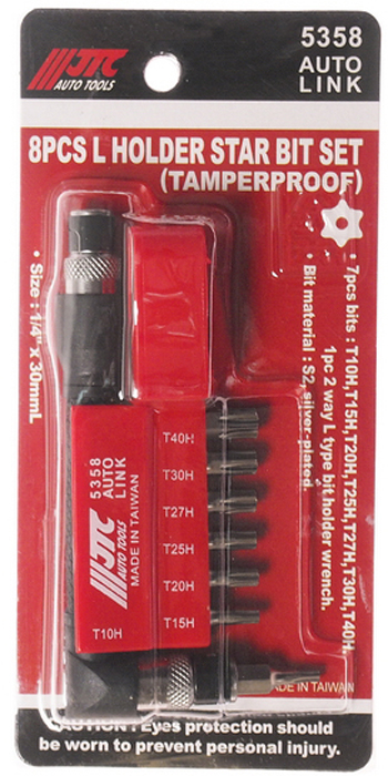 JTC Набор вставок 1/4DR, TORX, с отверстием T10H-T40H и Г-образным держателем, 8 предметов. JTC-5358JTC-5358Набор Бит-вставок 1/4 DR торкс с отверстием T10H-T40H и Г-образным держателем 8 пр. JTCМатериал: Сталь S2Поверхность посеребряннаяРазмер: 30 мм