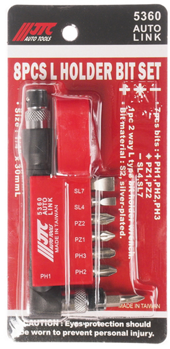 JTC Набор вставок 1/4DR Philips, с Г-образным держателем, 8 предметов. JTC-5360JTC-5360Набор Бит-вставок 1/4 DR PH1, PH2, PH3, PZ1, PZ2, PZ4, SL7 и Г-образным держателем 8 пр. JTCМатериал: Сталь S2Поверхность посеребряннаяРазмер: 30 мм