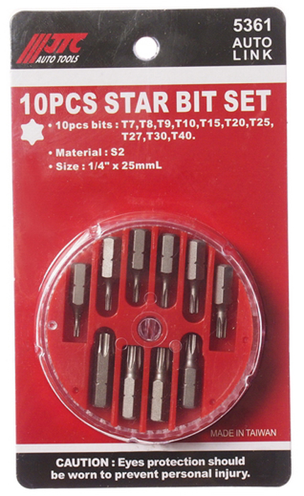 JTC Набор вставок в боксе 1/4DR TORX T7-T40, 10 предметов. JTC-5361JTC-5361В комплекте: Т7, Т8, Т9, Т10, Т15, Т20, Т25, Т27, Т30, Т40. Материал: S2. Размер: 1/4х25 мм.