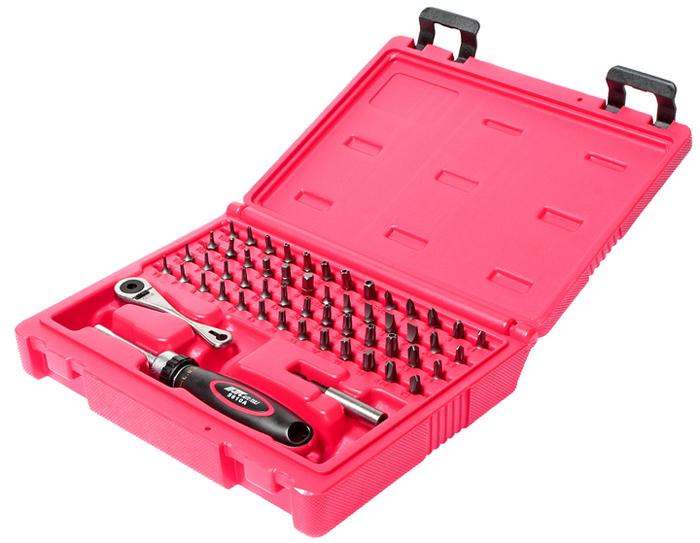 JTC Набор бит c мини-трещоткой и отверткой с храповым механизмом, 55 предметов. JTC-5610JTC-5610В комплекте: Мини-трещотка 1 шт. Отвертка с храповым механизмом - 1 шт. Держатель магнитный - 1 шт. 11 шт. биты TORX: Т6, Т7, Т8, Т9, Т10, Т15, Т20, Т25, Т27, Т30, Т40. 11 шт. биты TORX (с отверстием): Т6H, Т7H, Т8H, Т9H, Т10H, Т15H, Т20H, Т25H, Т27H, Т30H, Т40H. 6 шт. - HEX: H2, H2.5, H3, H4, H5, H6. 8 шт. биты TORX (с отверстием): ТS8H, ТS10H, ТS15H, ТS20H, ТS25H, ТS27H, ТS30H, ТS40H. 4 шт. Philips: PH0, PH1, PH2, PH3. 4 шт. шлицевые FD3, FD4, FD5, FD6, FD7. 4 шт. Y-образные 1-2-3-4. 3 шт. Х-образные 6-8-10. Материал: S2.Общее количество предметов: 55 шт.Упаковка: прочный переносной кейс.Габаритные размеры: 220/180/50 мм. (Д/Ш/В)Вес: 680 гр.