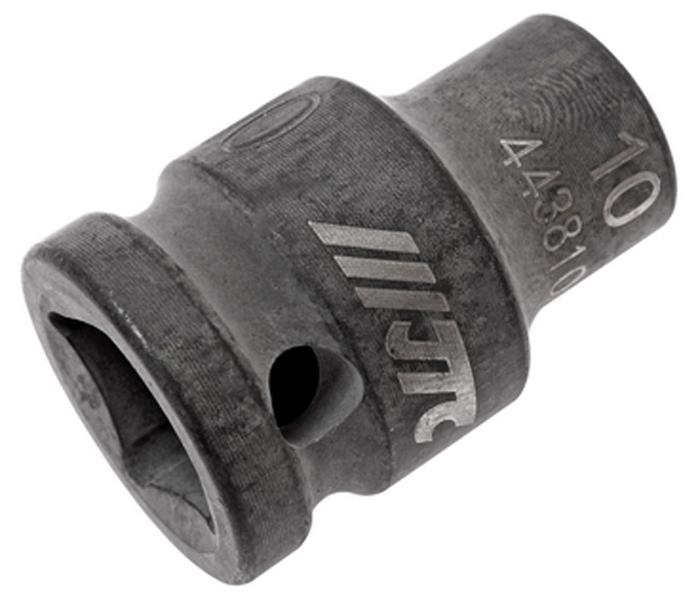 """JTC Головка торцевая ударная 6-гранная 1/2 х 10 мм, длина 38 мм. JTC-443810JTC-4438106 граней, метрический размер. Изготовлена из высококачественной хром-молибденовой стали. Размер: 1/2""""х10 мм.Общая длина: 38 мм. Количество в оптовой упаковке: 10 шт. и 200 шт. Габаритные размеры: 38/25/25 мм. (Д/Ш/В) Вес: 71 гр."""