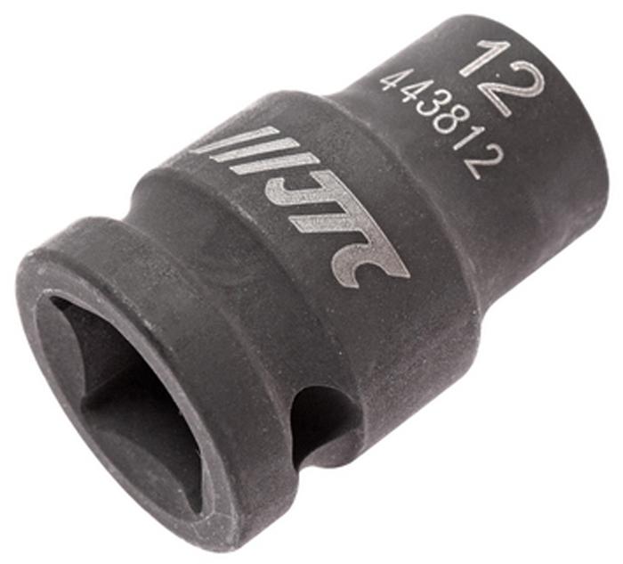 """JTC Головка торцевая ударная 6-гранная 1/2 х 12 мм, длина 38 мм. JTC-443812JTC-4438126 граней, метрический размер. Изготовлена из высококачественной хром-молибденовой стали. Размер: 1/2""""х12 мм.Общая длина: 38 мм. Количество в оптовой упаковке: 10 шт. и 200 шт. Габаритные размеры: 38/25/25 мм. (Д/Ш/В) Вес: 74 гр."""