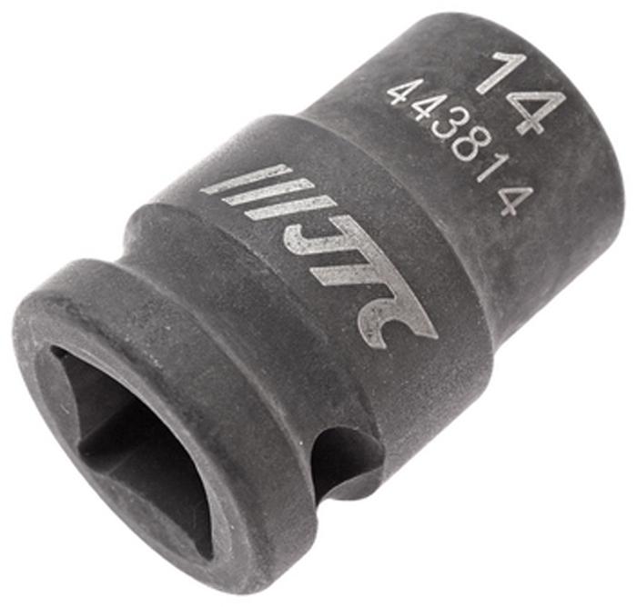 """JTC Головка торцевая ударная 6-гранная 1/2 х 14 мм, длина 38 мм. JTC-443814JTC-4438146 граней, метрический размер. Изготовлена из высококачественной хром-молибденовой стали. Размер: 1/2""""х14 мм.Общая длина: 38 мм. Количество в оптовой упаковке: 10 шт. и 200 шт. Габаритные размеры: 38/25/25 мм. (Д/Ш/В) Вес: 76 гр."""