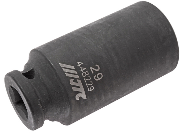 """JTC Головка торцевая ударная глубокая 6-гранная 1/2 х 29 мм, длина 82 мм. JTC-448229JTC-4482296 граней, метрический размер. Изготовлена из высококачественной хром-молибденовой стали. Размер: 1/2""""х29 мм.Общая длина: 82 мм. Количество в оптовой упаковке: 5 шт. и 25 шт. Габаритные размеры: 82/41/41 мм. (Д/Ш/В) Вес: 431 гр."""
