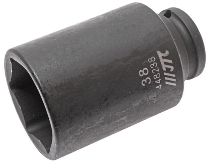 """JTC Головка торцевая ударная глубокая 6-гранная 1/2 х 38 мм, длина 82 мм. JTC-448238JTC-4482386 граней, метрический размер.Изготовлена из высококачественной хром-молибденовой стали.Размер: 1/2""""х38 мм. Общая длина: 82 мм.Количество в оптовой упаковке: 20 шт.Габаритные размеры: 82/52/52 мм. (Д/Ш/В)Вес: 572 гр."""