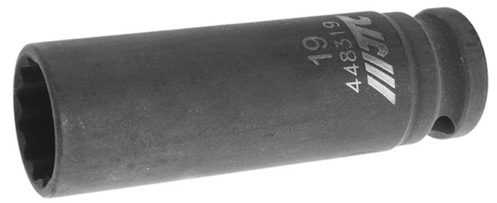 """JTC Головка торцевая ударная тонкостенная 12-гранная 1/2 х 19 мм, длина 82 мм. JTC-448319JTC-4483196 граней, метрический размер. Общая длина: 82 мм. Размер: 1/2"""" Dr.х19 мм. Изготовлена из высококачественной хром-молибденовой стали. Габаритные размеры: 82/20/20 мм. (Д/Ш/В) Вес: 170 гр."""