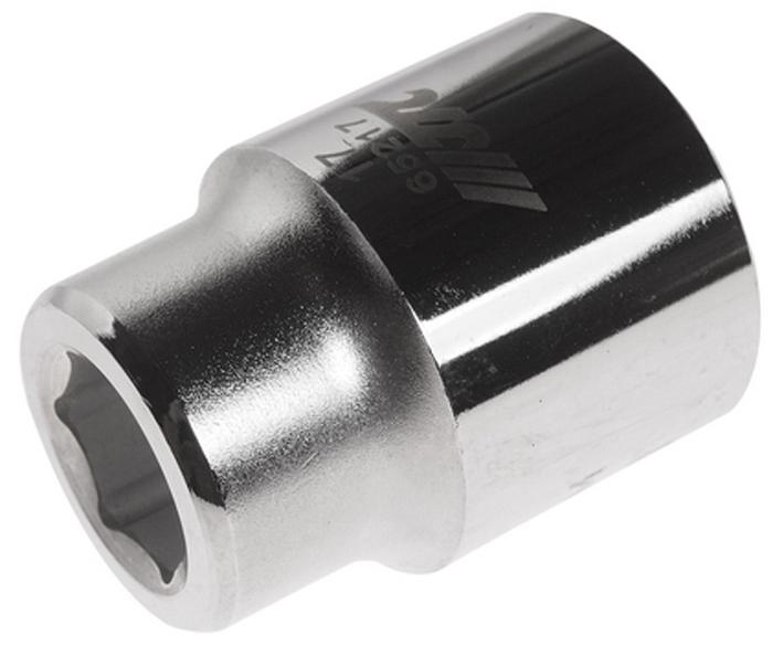 """JTC Головка6-гранная 3/4 х 17 мм, длина 50 мм. JTC-65217JTC-652176 граней, метрический размерДиаметр: 17 ммОбщая длина: 50 ммРазмер: 3/4"""" DrИзготовлена из закаленной хром-ванадиевой сталиГабаритные размеры: 50/40/40 мм. (Д/Ш/В)Вес: 260 гр."""