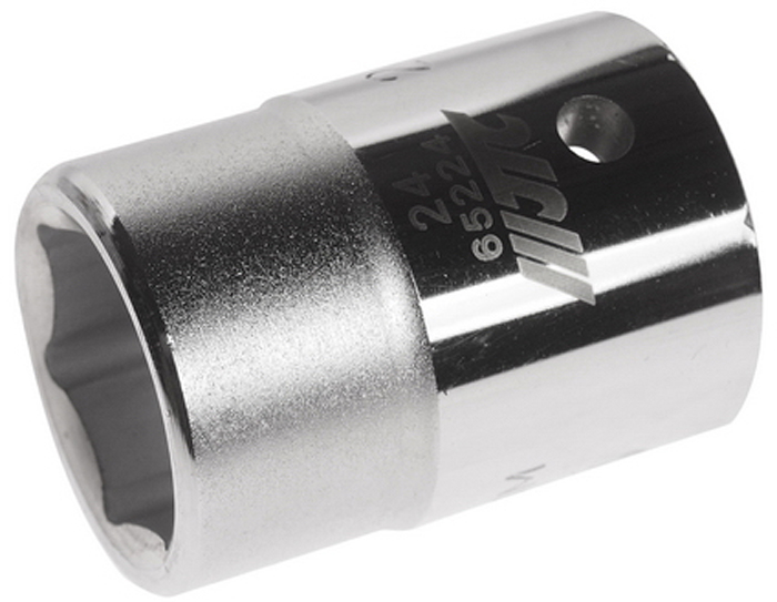 """JTC Головка6-гранная 3/4 х 24 мм, длина 50 мм. JTC-65224JTC-652246 граней, метрический размер. Диаметр: 24 мм. Общая длина: 50 мм. Размер: 3/4"""" Dr. Изготовлена из закаленной хром-ванадиевой стали. Габаритные размеры: 50/30/30 мм. (Д/Ш/В) Вес: 220 гр."""