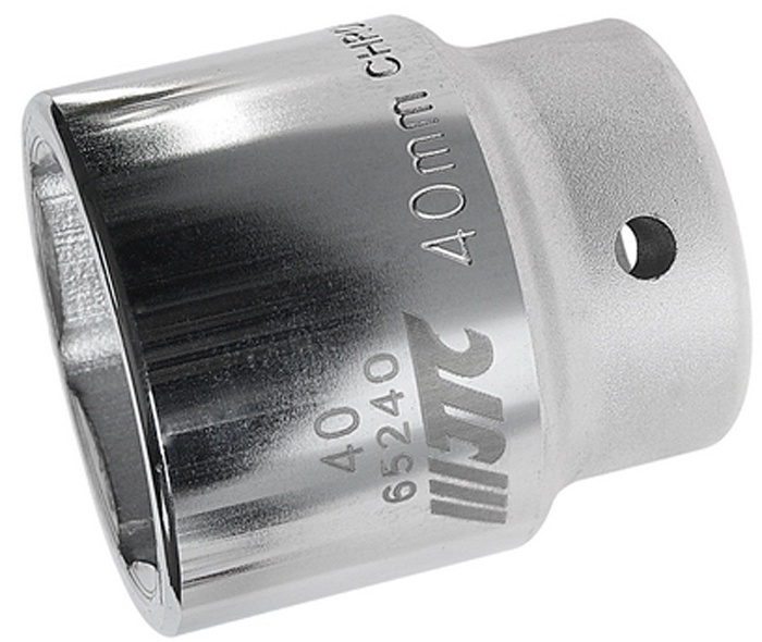 """JTC Головка6-гранная 3/4 х 40 мм, длина 64 мм. JTC-65240JTC-652406 граней, метрический размер. Диаметр: 40 мм. Общая длина: 64 мм. Размер: 3/4"""" Dr. Изготовлена из закаленной хром-ванадиевой стали. Габаритные размеры: 64/60/60 мм. (Д/Ш/В) Вес: 770 гр."""