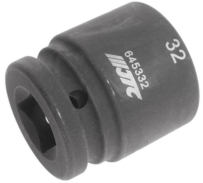 """JTC Головка торцевая ударная 12-гранная 3/4 х 32 мм, длина 52 мм. JTC-645332JTC-645332Изготовлена из высококачественной хром-молибденовой стали. 12 граней, метрический размер.Размер: 3/4""""х32 мм.Длина: 52 мм. Габаритные размеры: 52/44/44 мм. (Д/Ш/В) Вес: 415 гр."""