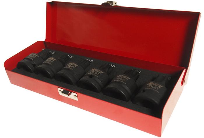 JTC Набор головок ударных HEX 3/4 T70-M18, 6 шт. JTC-J606TJTC-J606TВ комплекте: T70, T80, T90, T100, M16, M18. Под ключ 3/4. Материал: хромомолибденовая сталь. Длина: 61 мм.