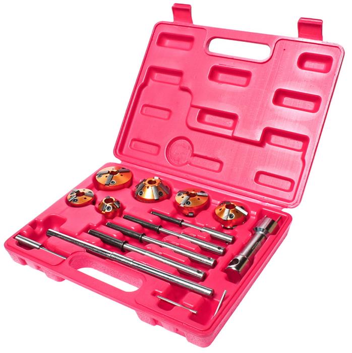 JTC Набор для ремонта седел клапанов, 13 предметов. JTC-JW0270JTC-JW0270Набор инструмента предназначен для ремонта клапанных седел.В комплекте:5 пилотов самозажимных: 5.5, 7.0-8.8, 8.0-9.8, 9.0-10.8, 10.0-11.8 мм.6 фрез:75° (28-37 мм.)х45° (28-37 мм.), 75° (37-44 мм.)х30° (28-37 мм.), 37-46 мм. 68х45°, 75° (44-52 мм.)х30° (37-46 мм.), 45° (46-60 мм.)х30° (46-60 мм.), 75°(52-65 мм.)х60° (52-65 мм.) - Т-образный держатель фрезыВороток для Т-образный. держателя.Вороток для пилотов.Ключ Г-образный. TORX.Общее количество предметов: 13.Упаковка: прочный переносной кейс.Количество в оптовой упаковке: 12 шт.Габаритные размеры: 295/230/50 мм. (Д/Ш/В)Вес: 1960 гр.