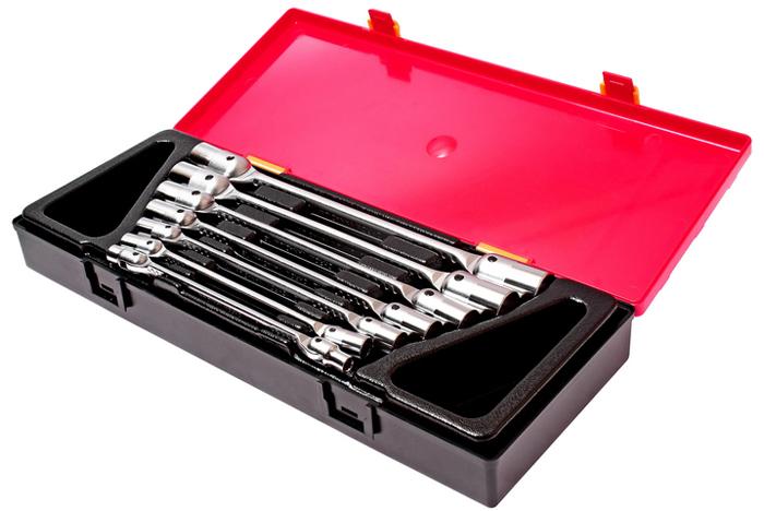 Набор ключей JTC, торцевых, шарнирных, 7 предметов. JTC-K6072JTC-K6072Ключи предназначены для проведения слесарных работ, в том числе с труднодоступными резьбовыми соединениями. Используются также для снятия и установки колёс транспортного средства. В комплекте:Ключ торцевой (двухсторонний) 6х7 мм, 8х9 мм, 10х11 мм, 12х13 мм, 14х15 мм, 16х17 мм, 18х19 мм - 7 шт. Общее количество предметов: 7 шт. Комплект упакован в прочный презентабельный бокс.Габаритные размеры: 370/145/55 мм (Д/Ш/В). Вес: 1905 г.