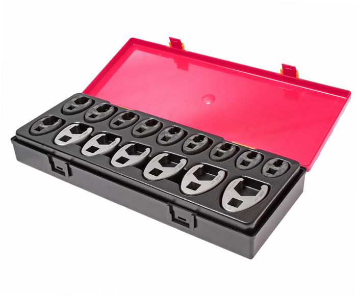 Набор ключей JTC, разрезных, односторонних, 16 шт. JTC-K6161JTC-K6161В комплекте: 3/8 ключ разрезной односторонний - 10 мм, 11 мм, 12 мм, 13 мм, 14 мм, 15 мм, 16 мм, 17 мм, 18 мм, 19 мм - 10 шт.1/2 ключ разрезной односторонний: 21 мм, 22 мм, 23 мм, 24 мм, 26 мм, 27 мм - 6 шт.Общее количество предметов: 16 шт.Комплект упакован в прочный презентабельный бокс.Габаритные размеры: 370/145/55 мм (Д/Ш/В).Вес: 1802 г.
