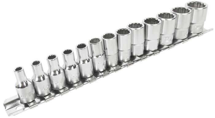 """Набор головок торцевых JTC, 12-гранных 1/4, 13 шт. JTC-T213MJTC-T213MНабор головок торцевых 12-гранных изготовлен из высокотехнологичной закаленной хром-ванадиевой стали, надежен, компактен и прост в использовании.В комплекте: 4, 4.5, 5, 5.5, 6, 7, 8, 9, 10, 11, 12, 13, 14 мм.Под ключ: 1/4""""х12 граней.Длина: 25 мм."""