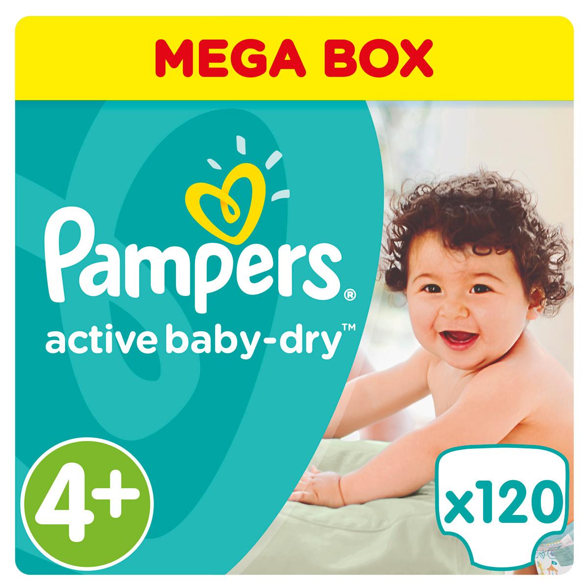 Фото Pampers Подгузники Active Baby-Dry 9-16 кг (размер 4+) 120 шт. Покупайте с доставкой по России
