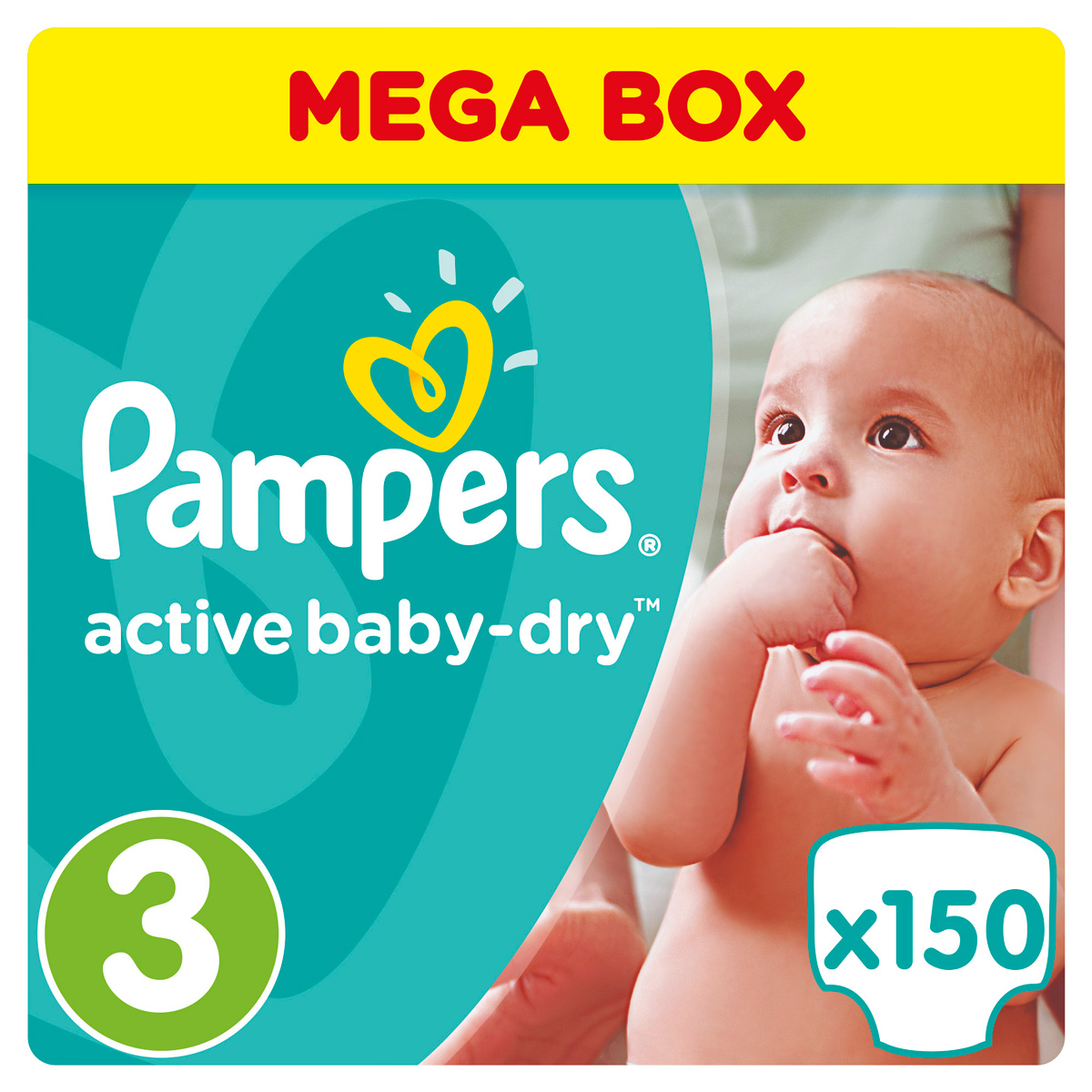 Pampers Подгузники Active Baby-Dry 4-9 кг (размер 3) 150 шт