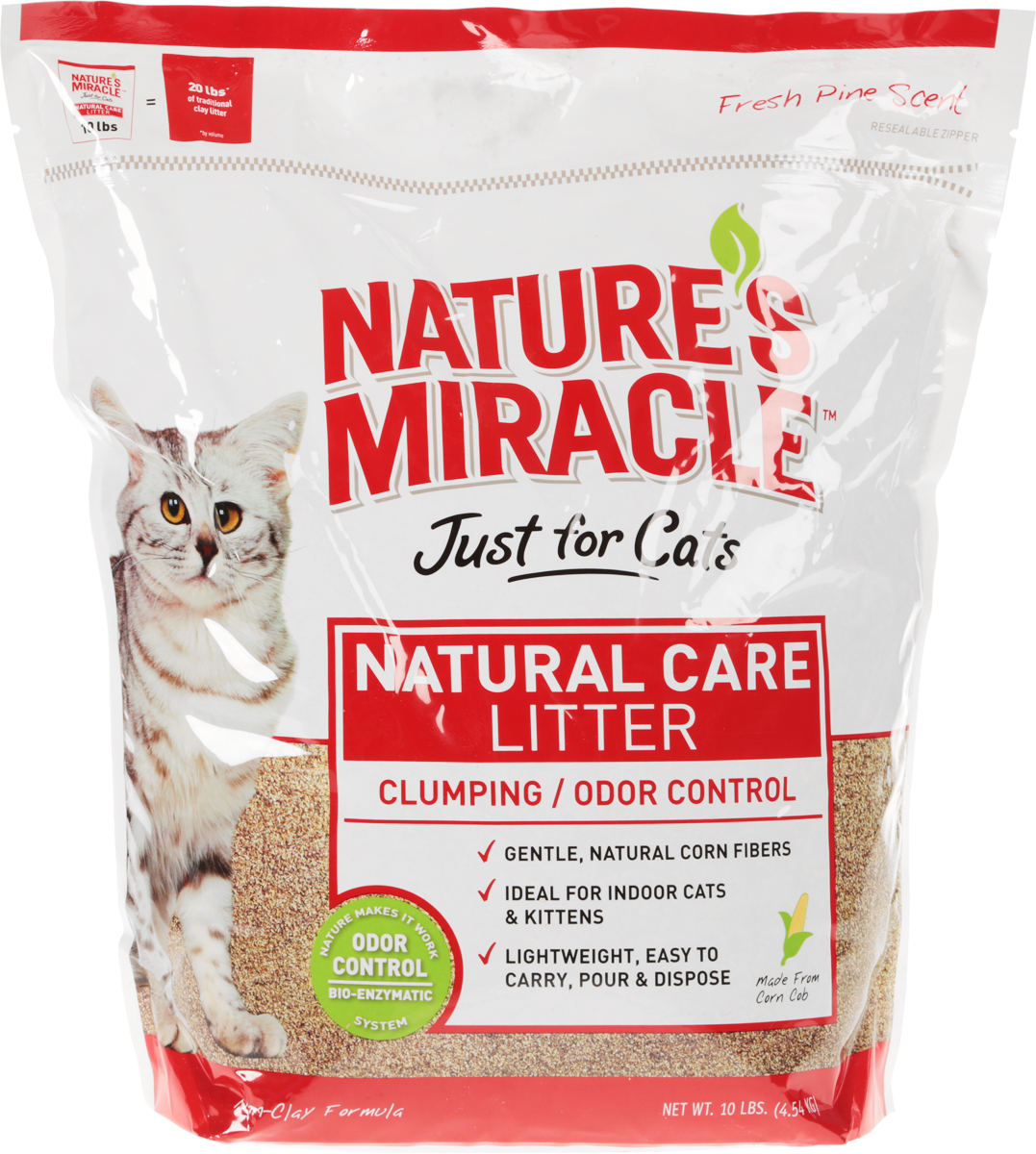 Наполнитель кукурузный для кошачьего туалета 8 in 1  Nature's Miracle , комкующийся, 4,5 кг - Наполнители и туалетные принадлежности