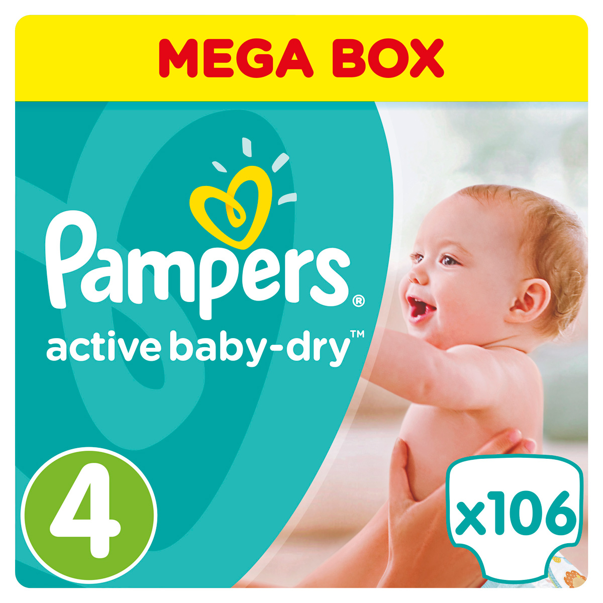 Pampers Подгузники Active Baby-Dry 8-14 кг (размер 4) 106 шт