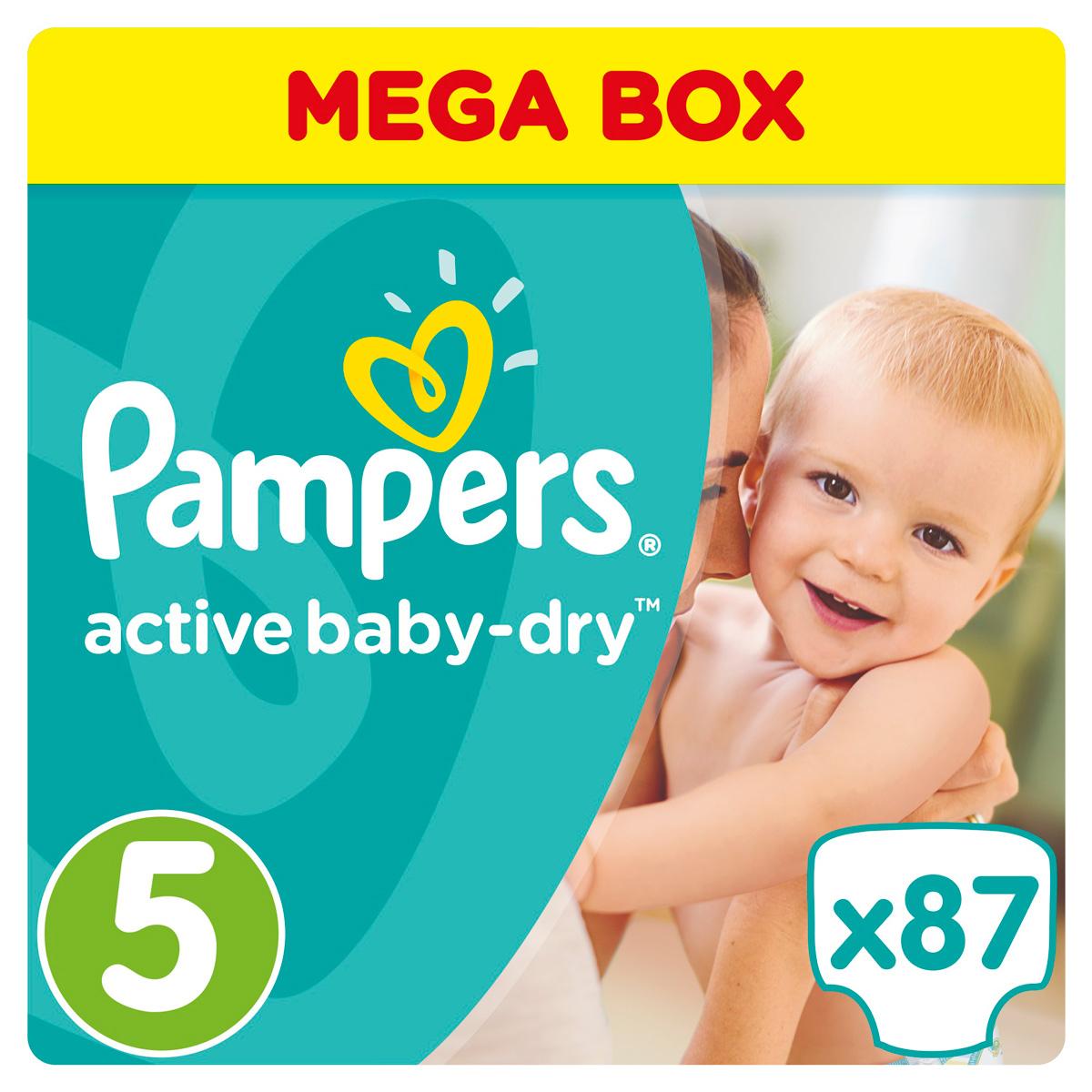 Pampers Подгузники Active Baby-Dry 11-18 кг (размер 5) 87 шт - Подгузники и пеленки