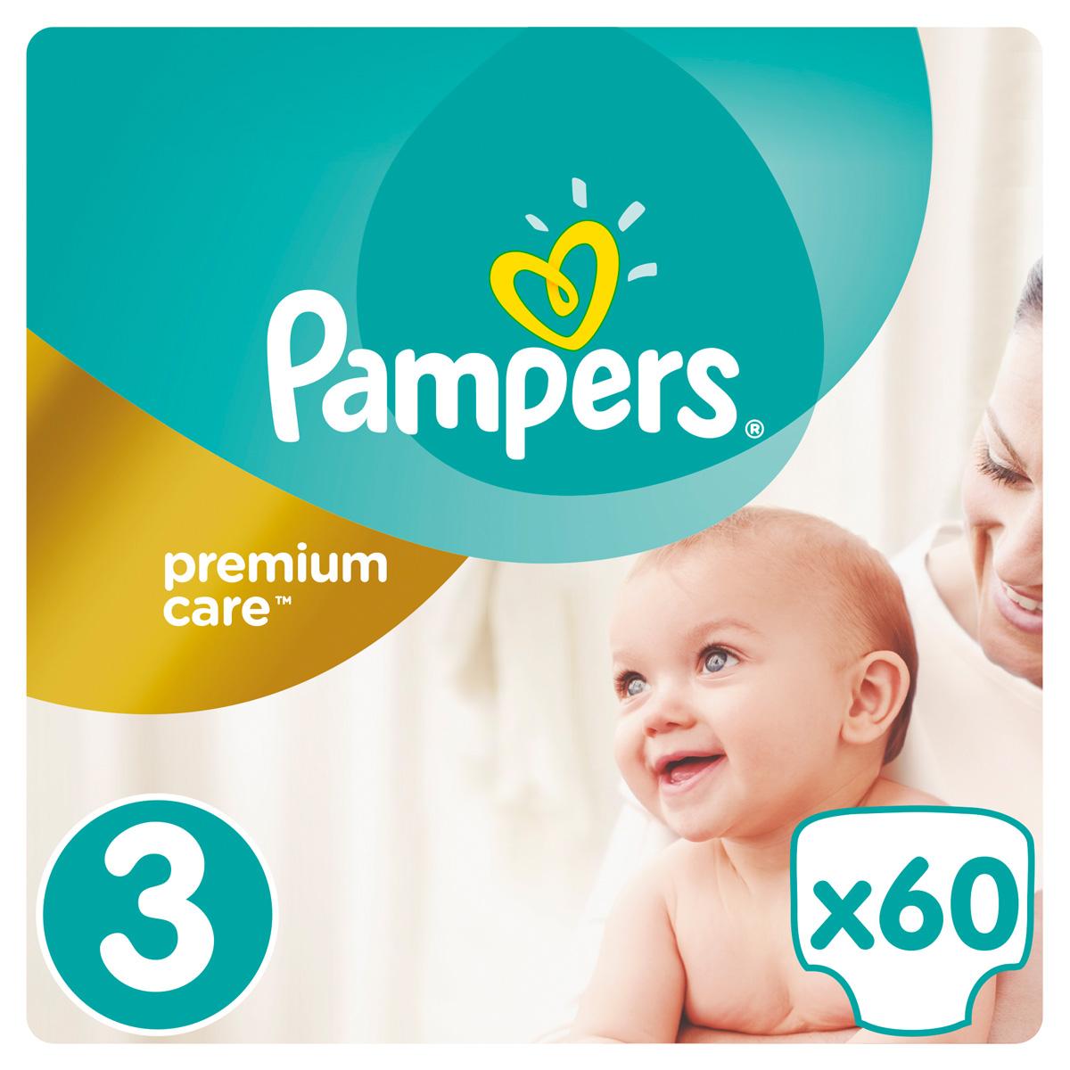 Pampers Premium Care Подгузники 3, 5-9 кг, 60 шт подгузники детские pampers подгузники pampers premium care 2 5 кг 1 размер 88 шт