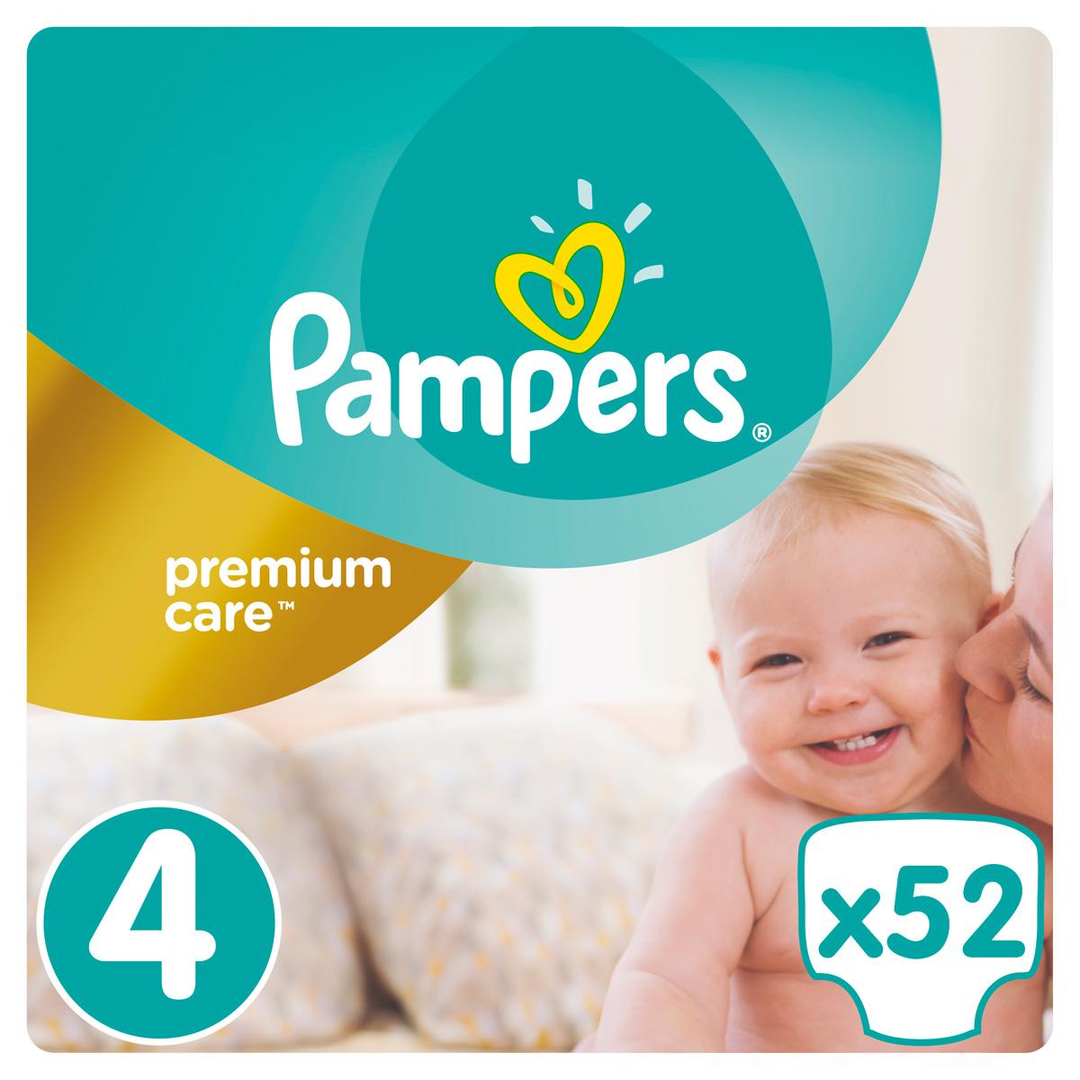 Pampers Premium Care Подгузники 4, 7-18 кг, 52 шт подгузники детские pampers подгузники pampers premium care 2 5 кг 1 размер 88 шт