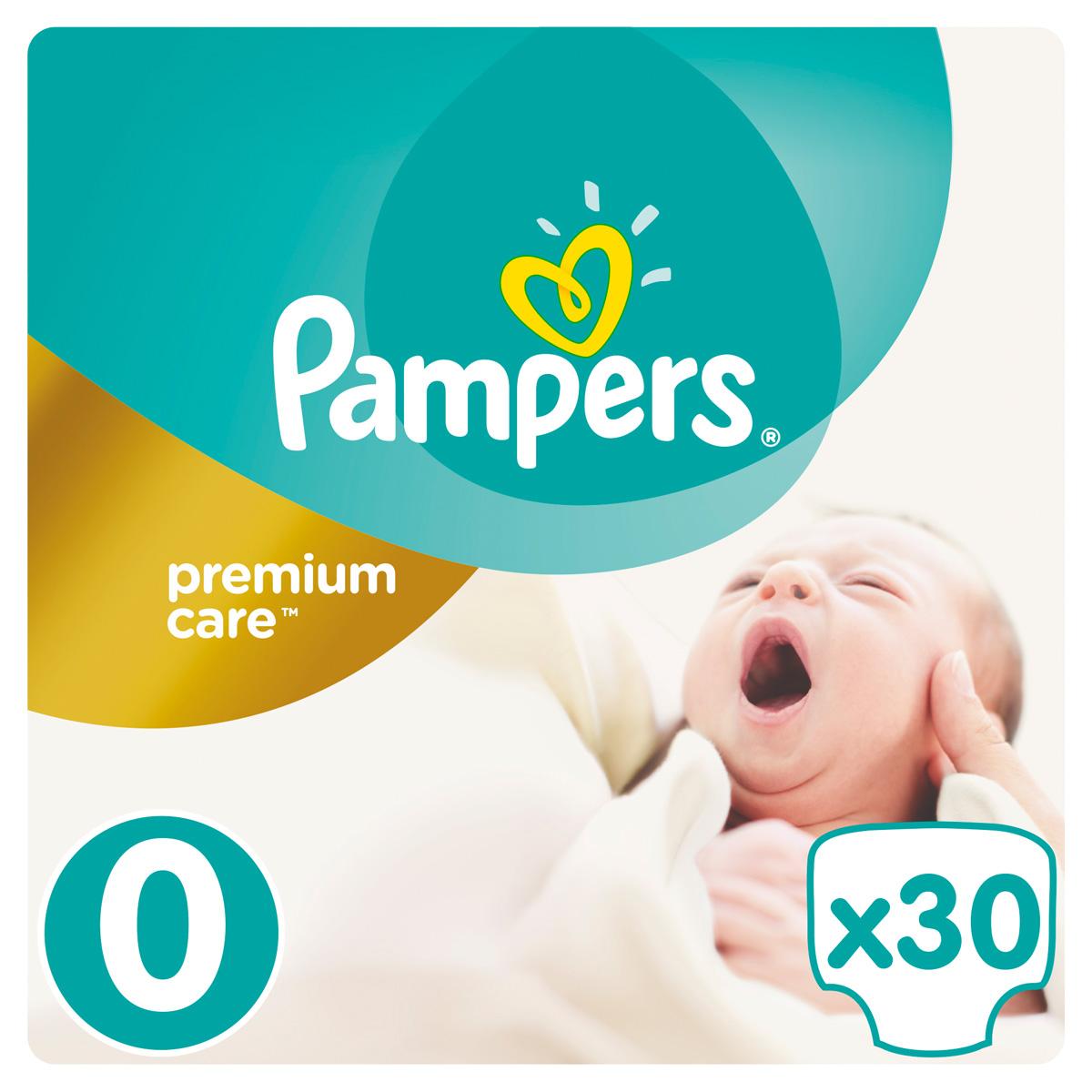 Pampers Подгузники Premium Care 0-2,5 кг (размер 0) 30 шт подгузники детские pampers подгузники pampers premium care 2 5 кг 1 размер 88 шт