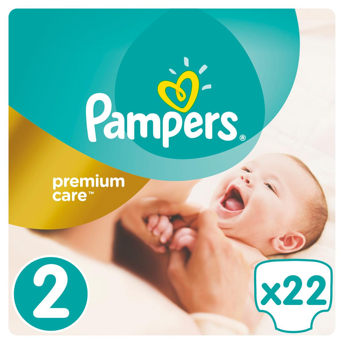 Pampers Подгузники Premium Care 3-6 кг (размер 2) 22 шт подгузники детские pampers подгузники pampers premium care 2 5 кг 1 размер 88 шт