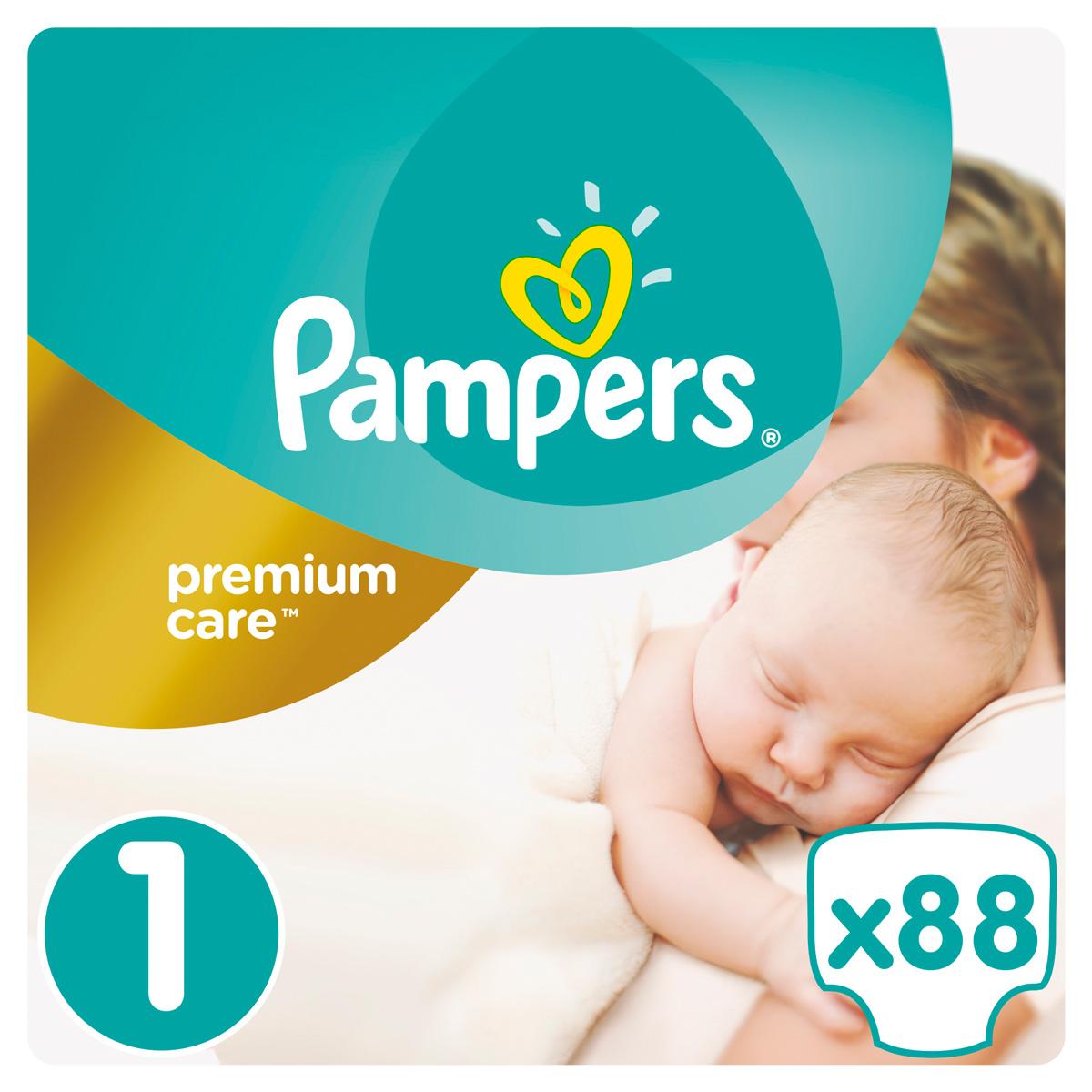 Pampers Подгузники Premium Care 2-5 кг (размер 1) 88 шт - Подгузники и пеленки