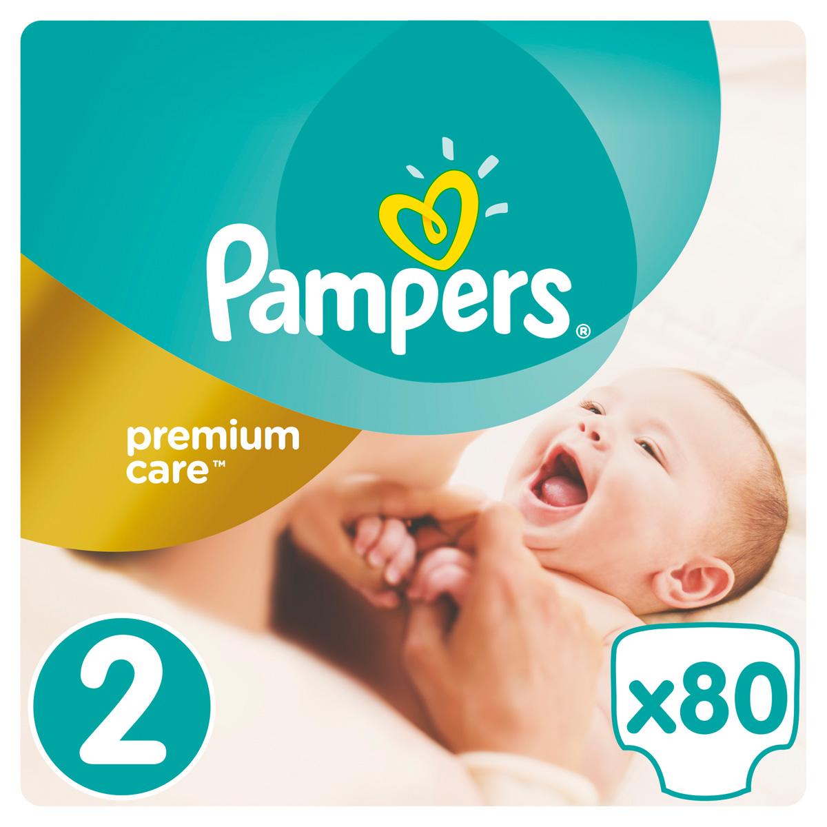 Pampers Подгузники Premium Care 3-6 кг (размер 2) 80 шт greenty подгузники greenty 5 13 кг 32 шт