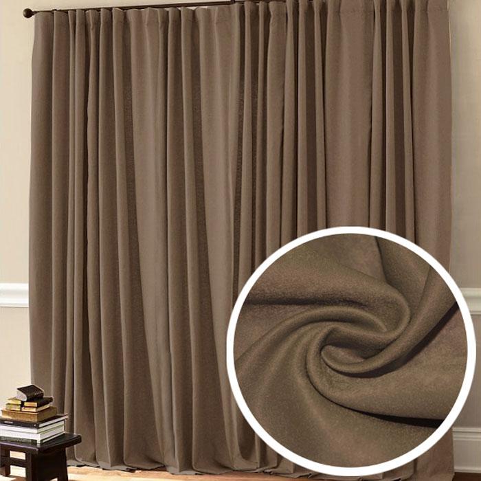 Портьера Amore Mio, 200 х 270 см, 1 шт, цвет: коричневый. 7537275372Портьера Amore Mio - это плотная, гладкая, мягкая ткань, выполненная из полиэстера. Натуральный коричневый цвет будет красиво выглядеть в вашем интерьере. Изделие сделано на шторной ленте.