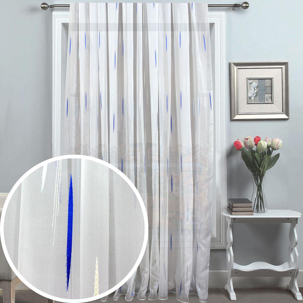 Тюль Amore Mio, на ленте, цвет: белый, синий, высота 270 см. 8124381243Тюль Amore Mio изготовлен из 100% полиэстера. Воздушная ткань привлечет к себе внимание и идеально оформит интерьер любого помещения. Полиэстер - вид ткани, состоящий из полиэфирных волокон. Ткани из полиэстера легкие, прочные и износостойкие. Такие изделия не требуют специального ухода, не пылятся и почти не мнутся.Крепление к карнизу осуществляется при помощи вшитой шторной ленты.