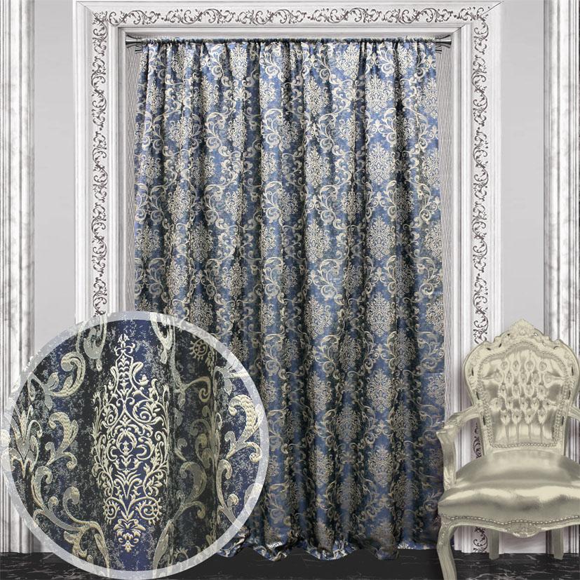 Портьера Amore Mio Жаккард, на ленте, цвет: синий, высота 270 см. 8446984469Портьера Amore Mio Жаккард из плотной ткани придаст современный вид любому интерьеру. Ткань изготовлена из 100% полиэстера. Полиэстер - вид ткани, состоящий из полиэфирных волокон. Ткани из полиэстера легкие, прочные и износостойкие. Такие изделия не требуют специального ухода, не пылятся и почти не мнутся. Крепление к карнизу осуществляется при помощи вшитой шторной ленты.