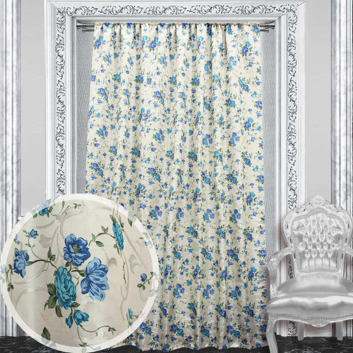 Портьера Amore Mio Жаккард, на ленте, цвет: голубой, высота 270 см. 86039