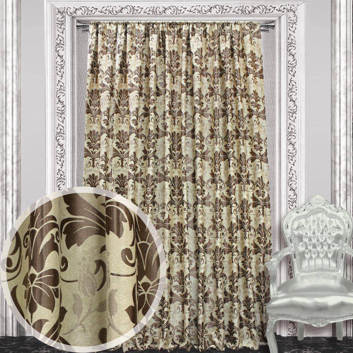 Штора Amore Mio, на ленте, цвет: коричневый, высота 270 см. 8604986049Штора Amore Mio с роскошным рисунком изготовлена из 100% полиэстера. Полиэстер - вид ткани, состоящий из полиэфирных волокон. Ткани из полиэстера легкие, прочные и износостойкие. Такие изделия не требуют специального ухода, не пылятся и почти не мнутся.Крепление к карнизу осуществляется при помощи вшитой шторной ленты.
