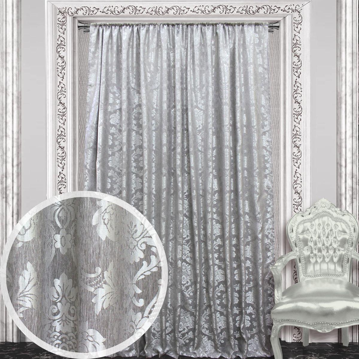 Штора Amore Mio, на ленте, цвет: серый, высота 270 см. 8605286052Штора Amore Mio с роскошным рисунком изготовлена из 100% полиэстера. Полиэстер - вид ткани, состоящий из полиэфирных волокон. Ткани из полиэстера легкие, прочные и износостойкие. Такие изделия не требуют специального ухода, не пылятся и почти не мнутся.Крепление к карнизу осуществляется при помощи вшитой шторной ленты.