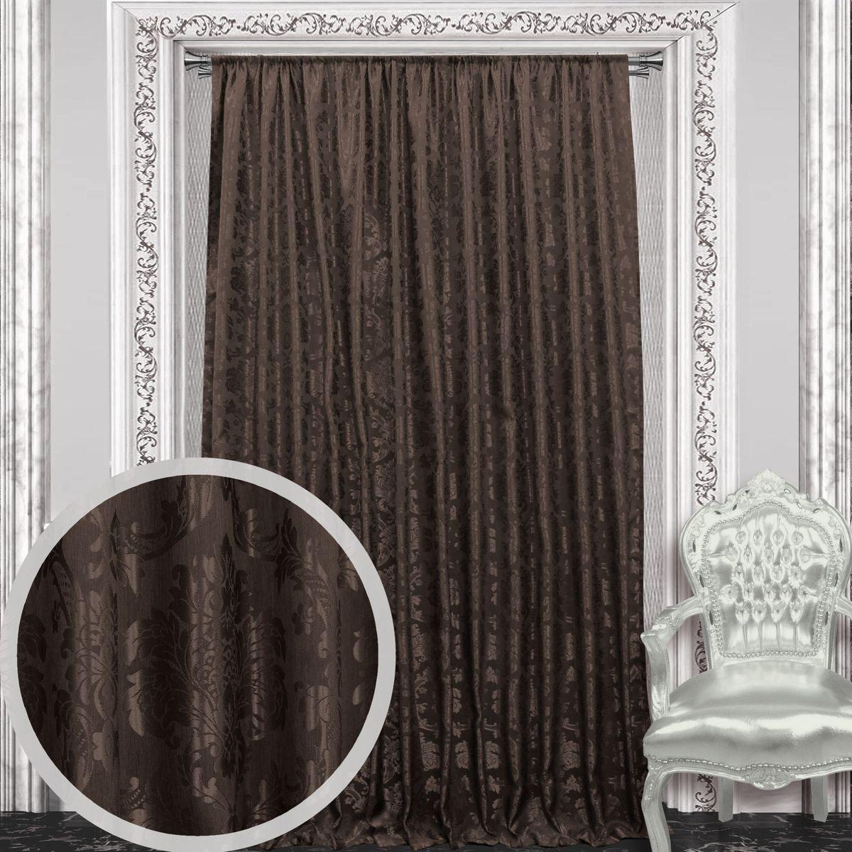 Штора Amore Mio, на ленте, цвет: коричневый, высота 270 см. 8605386053Штора Amore Mio с роскошным рисунком изготовлена из 100% полиэстера. Полиэстер - вид ткани, состоящий из полиэфирных волокон. Ткани из полиэстера легкие, прочные и износостойкие. Такие изделия не требуют специального ухода, не пылятся и почти не мнутся.Крепление к карнизу осуществляется при помощи вшитой шторной ленты.