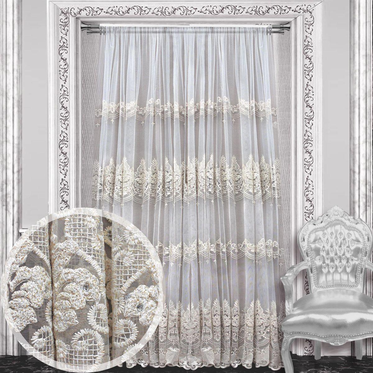 Тюль Amore Mio, на ленте, цвет: белый, высота 270 см. 8611486114Тюль Amore Mio изготовлен из 100% полиэстера. Воздушная ткань привлечет к себе внимание и идеально оформит интерьер любого помещения. Полиэстер - вид ткани, состоящий из полиэфирных волокон. Ткани из полиэстера легкие, прочные и износостойкие. Такие изделия не требуют специального ухода, не пылятся и почти не мнутся.Крепление к карнизу осуществляется при помощи вшитой шторной ленты.