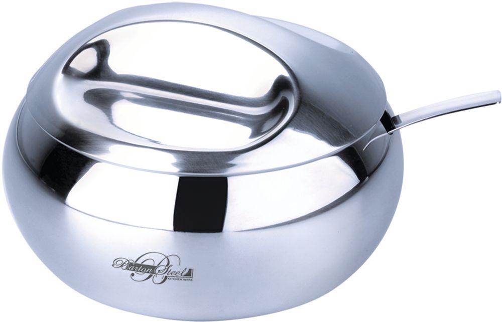 """Сахарница с ложкой """"Barton Steel"""" изготовлена из высококачественной стали. Глянцевая полировка.  Металлическую часть можно мыть в посудомоечной машине.  Емкость 420 мл."""