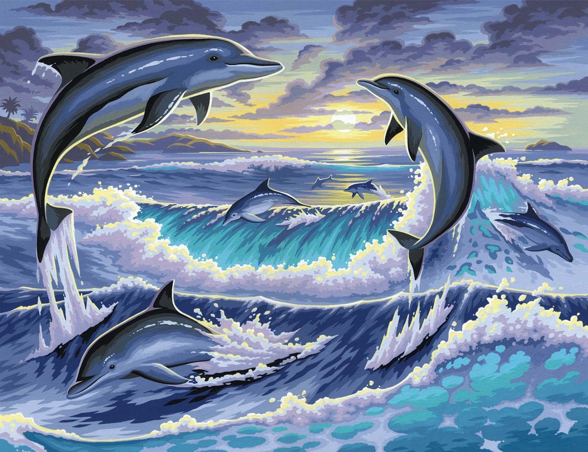 KSG Картина по номерам Дельфины