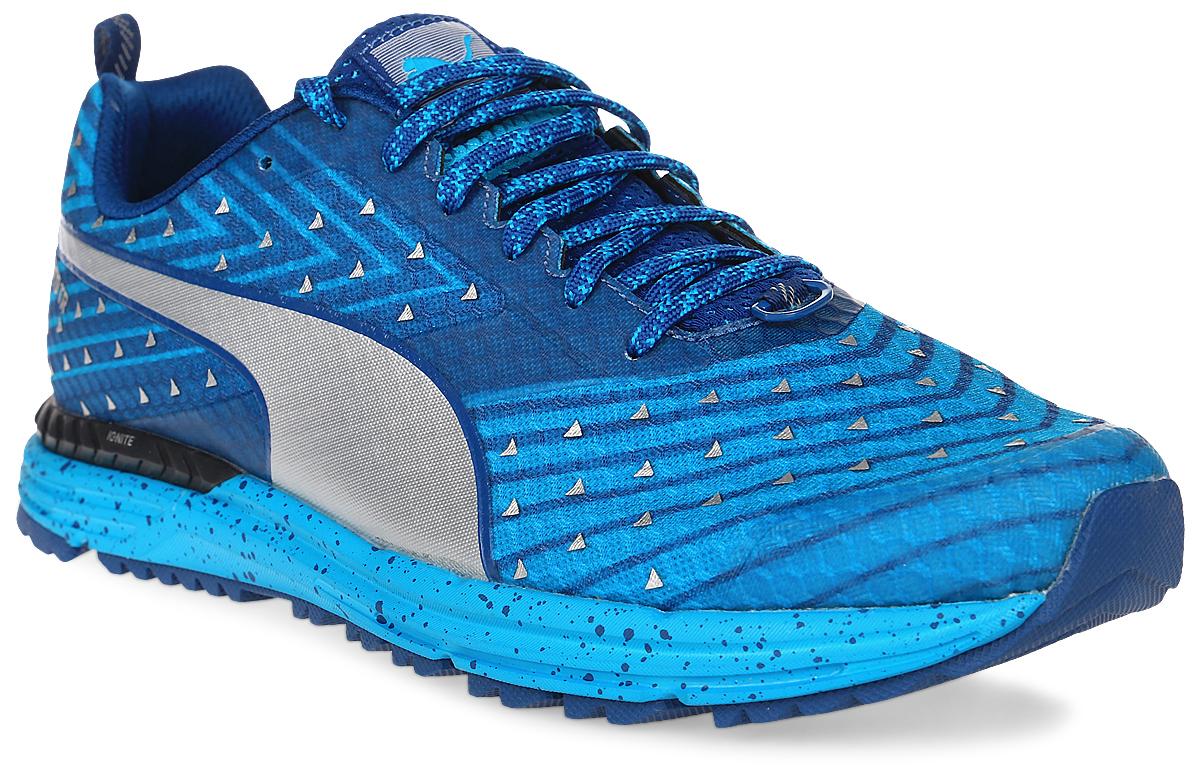 Кроссовки мужские для бега Puma Speed 300 TR Ignite, цвет: синий. 18909203. Размер 9,5 (43)18909203Кроссовки Speed 300 TR Ignite идеальны для быстрого бега по пересеченной местности. В них легкость сочетается с повышенной прочностью благодаря применению новейших материалов. Кроме того, конструкция, обеспечивающая повышенную защиту от травм, делает их незаменимыми для любителей экстремальных нагрузок. Технологии Puma, гарантирующие возврат энергии, продвижение вперед с ускорением и устойчивое положение стопы на любой поверхности, объединены в этой модели с такими особенностями обуви, как наличие светоотражающих элементов, повышающих безопасность бегуна в темное время суток, толстой амортизирующей стелькой и водонепроницаемым материалом верха.