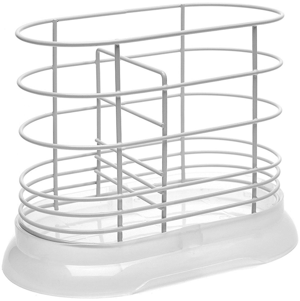 """Подставка для столовых приборов """"Walmer"""" имеет лаконичный дизайн и подойдет под абсолютно  любой интерьер кухни. Основание изделия изготовлено из качественного пластика. Если на  приборах осталось немного воды, то она не будет стекать на стол, а останется в съемном  поддоне. А материалом для прутков корпуса является сталь с порошковым покрытием - прочная  и устойчивая к коррозии. К слову, в нижней части расстояние между прутками меньше, чтобы  ручки столовых приборов не выскальзывали из подставки. Подставка """"Walmer"""" не займет слишком много места на вашей кухне. Ее назначение в том, чтобы  экономить пространство и упрощать жизнь своим владельцам. Для удобства в ней есть  разделитель, который позволяет хранить приборы в разных отсеках."""