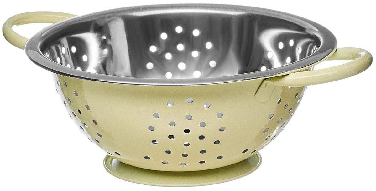 Дуршлаг Walmer Holly, цвет: кремовый, серый, диаметр 22 смW26020122Дуршлаг Walmer Holly, изготовленный из высококачественной нержавеющей стали, станет полезным приобретением для вашей кухни. Он предназначен для сливания жидкости, например, после варки макаронных изделий, круп или картофеля. Также дуршлаг используется для мытья и промывания ягод, грибов, мелких фруктов и овощей. Дуршлаг оснащен устойчивым основанием и удобными ручками по бокам.Диаметр (по верхнему краю): 22 см. Ширина (с учетом ручек): 29,5 см. Высота стенки: 9 см.