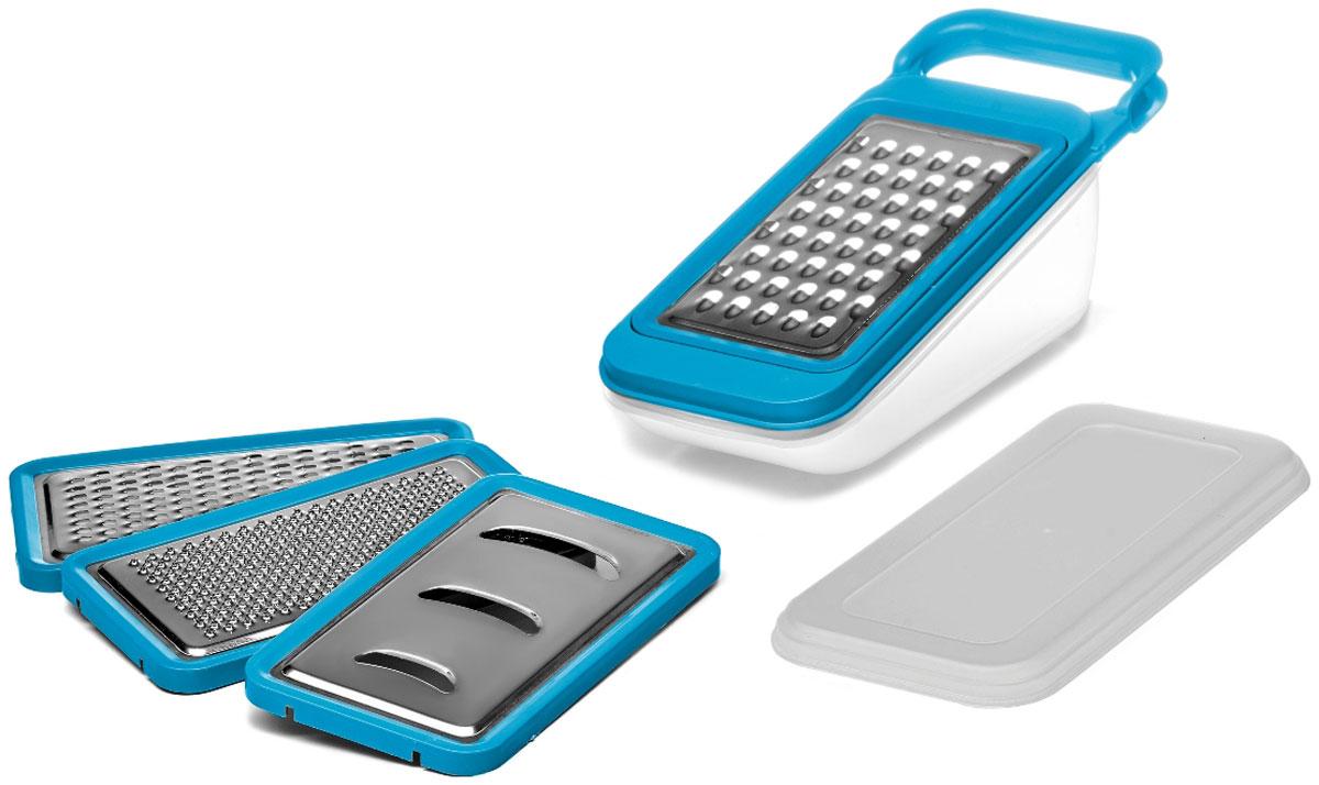 Терка Walmer Rainbow, с контейнером, цвет: голубой, серый, 4 насадки, 26 х 10,2 х 10,5 смW26020926Терка Walmer Rainbow изготовлена из высококачественной стали и пластика. Она непременно понравится каждой хозяйке. В набор входит 4 терки-насадки: крупная терка, мелкая терка, терка для создания пюре и стружки и шинковка. Насадка под наклоном одевается на специальный контейнер. Измельченные продукты собираются в него, а поверхность стола остается чистой. Контейнер снабжен крышкой, что позволяет использовать его для хранения продуктов.Ручка изделия позволяет удобно взяться за нее и зафиксировать терку на столе, когда вы готовите. Для того, чтобы терку было удобно мыть, режущая поверхность снимается.Размер терки (с контейнером): 26 х 10,2 х 10,5 см.